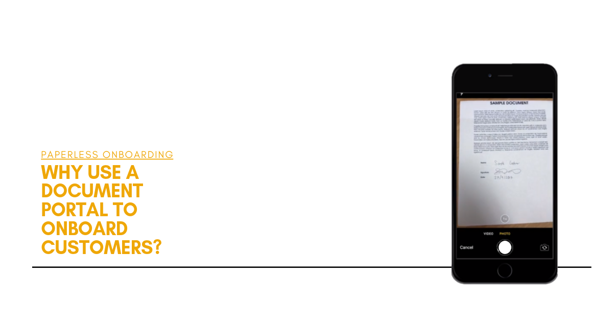 Paperless onboarding: using a mobile phone on a document portal